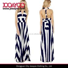 Sexy Women's White&Blue stripe Maxi Long Dress Multi-way