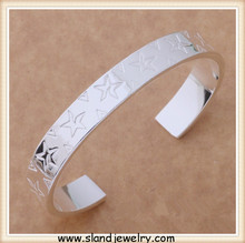 Stars stamped 925 silver bangle, fashion silver jewelry engravable sterling silver bracelets made in Sland Guangzhou factory