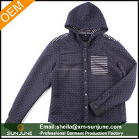 Warm dark color thick fashion men's shirt with hood