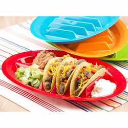 Fiesta Taco Plates,FDA silicone food divided plate