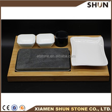 steak grill lava stone for cooking with Bamboo board
