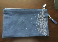 Zippered Canvas Cosmetic Bag With Rhinestone