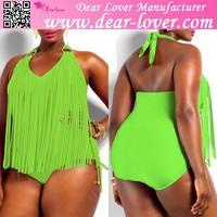 Wholesale big size L-5XL Fringe plus Size Halter bikini for fat women