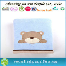 Keep warm fluffy high quality animal embroideried fleece baby blanket for infant newborn baby gifts