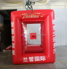 inflatable cube cash money catching grab machine booth for sale