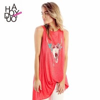2015 Women Buck Toten Print Cotton Loose T-shirts Sleeveless Casual A Line Tees for Wholesale Haoduoyi