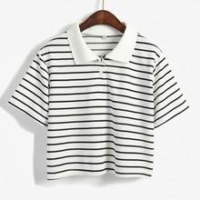 korean crop length stripe women polo shirt design