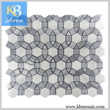 Italy Gray Mixed Carrara Ball Irregular Style Mosaic Wall Tile For Housing Design