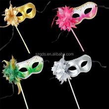 Party Stick Masks Mardi Gras wholesale masquerade mask Venetian princess masquerade mask with stick 11 colors available