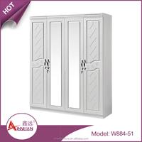 Latest MDF wooden clothespress pvc wardrobe door white wardrobe dressing table designs with 4 door