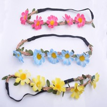2015Elastic Flower Daisy Flower Crown Headband,hair accessories for women