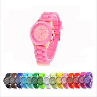 New Fashion Designer Geneva Ladies sports brand silicone watch jelly watch 17 colors quartz watch for women relojes mujer