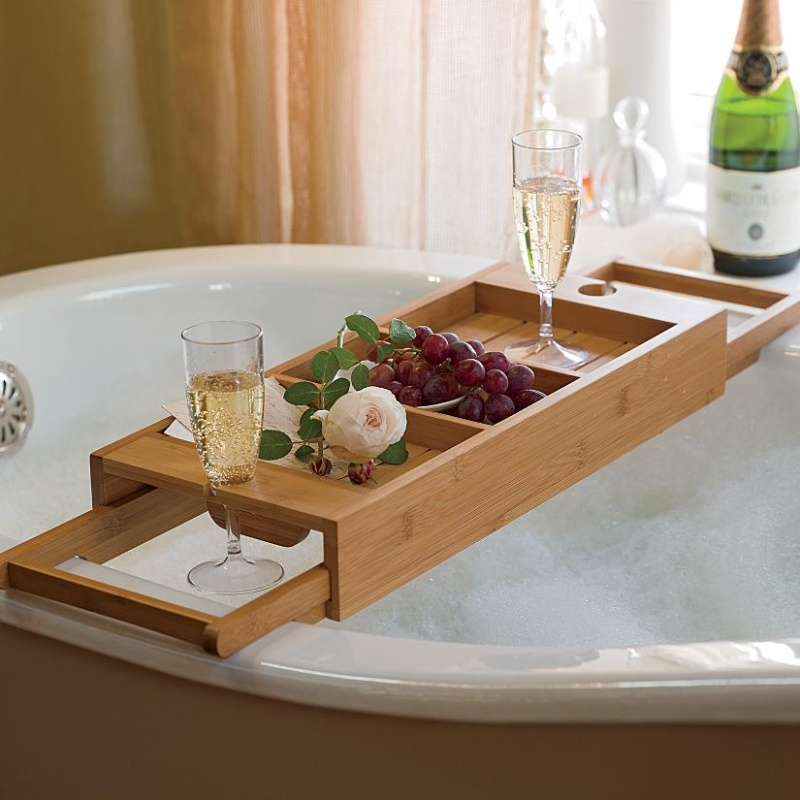 100% Bamboo Bathtub Caddy With Extendable Sides Integrated Wineglass ...