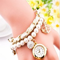 2015 Hot Sale New arrival pearl strap pendants pearl bracelet watch wholesale