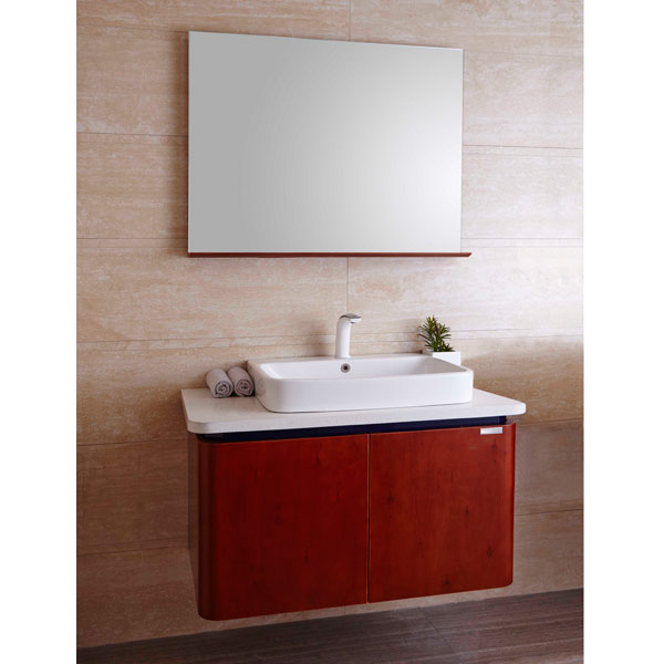 Baño Pequeno Rectangular:Alder Wood Cabinets Bathroom Vanities