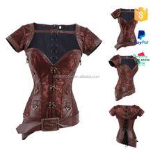 wholesale steel boned leather steampunk corset