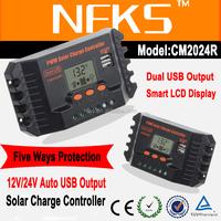20a Smart 24v voltage pwm regulator 12v auto dual usb solar controller