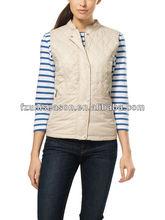 Beige casual ladies quilted vests