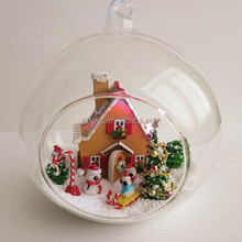 DIY Romantic Christmas Glass Crafts house with LED light for love with snow man, Christmas tree decoration
