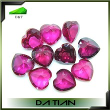 Top quality wholesale fashion heart synthetic stone ruby gem
