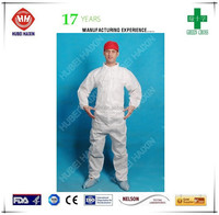 PP disposable coverall nonwoven coverall work uniform with red caps