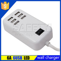 Wholesale cell phone use 5v 6a 6 port usb multi charger