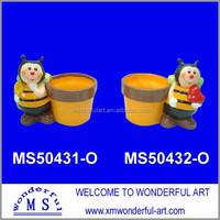 wholesale terracotta mini flower pot with bee decor