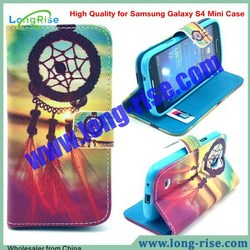 High Quality Sweet Dreamcatcher Pattern Flip Leather Case for Samsung Galaxy S4 Mini Case with Card Slot