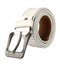 Top selling pin buckle white leather men belt