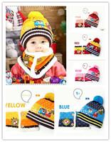 Princess winter child hat christmas warm caps plush hat hats+scarf 2pcs suits kids fashion cap 5colors