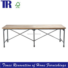 dining table,solid wood dining table with stainless steel legs and caster,rectangle vintage dining table