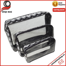 Black and White three pieces one set wavy style clear pvc cosmetic toiletry bag