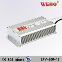 IP67 Constant voltage ac 220v dc 12v 200w waterproof led driver