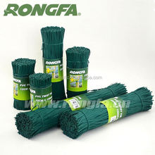Green color PVC twist tie plastic coated twist tie wire