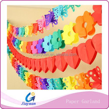 Party room wall hanging various designs colorful tissue paper garland string/bear,heart,flower,clown,butterfly