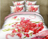 red flower pattern cotton king and queen size bed duvet quilt cover bed sheets sets 3D