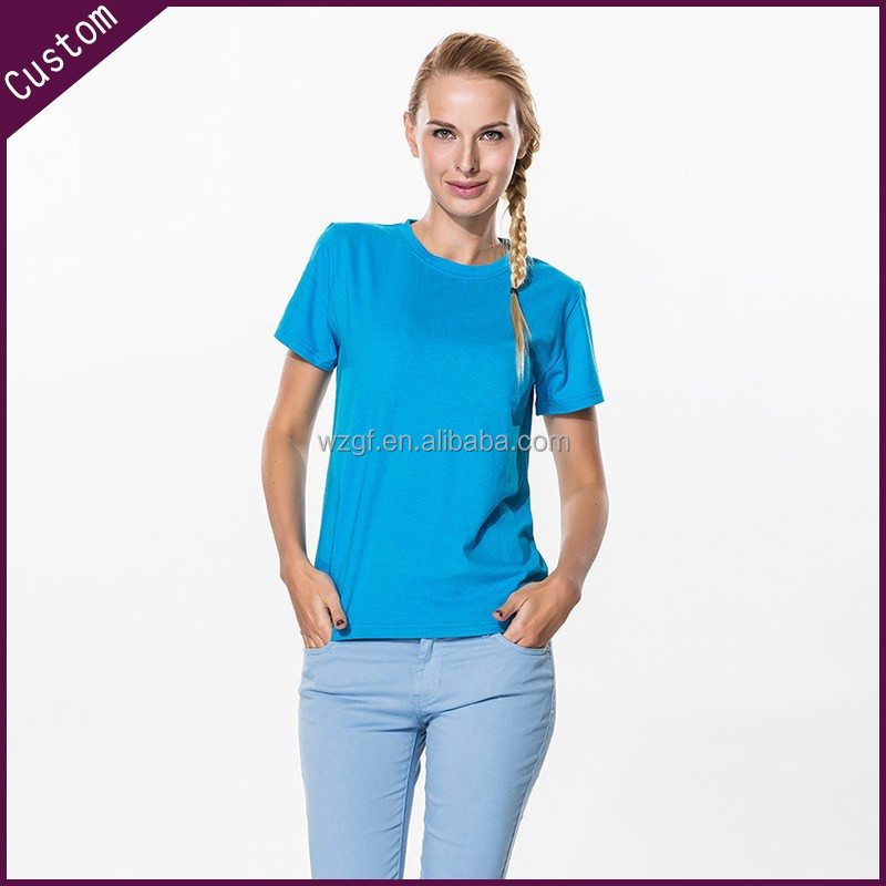 Wholesale women 39 s plain round collar t shirt from china for Plain t shirt wholesale philippines
