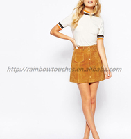 Women Real Leather Button Through High-waist A-line Suede Skirt