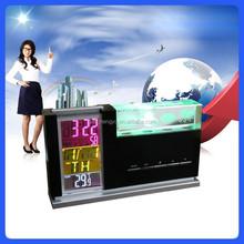 Household desktop led backlight Weather Station Clock