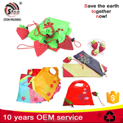 Custom logo folding fruit shape A4 size shopping tote bags with polyester nylon fabric