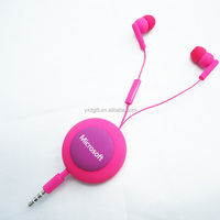 Retractable earphone with Mic for Iphone 6/Samsung/MP3/MP4 Factory supply