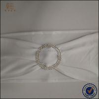 Pure white wedding elastic ruffled chair brooch band sash rhinestone ribbon buckle