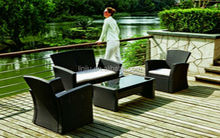 GARDEN FURNITURE RATTAN/WICKER 4 PCS K/D SOFA SET