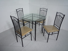 Best Sale Indoor Furnture Metal Glass Dining Set DS-007-5(1+4)