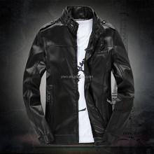 Artificial wool inside warm men's pu coat