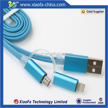 TOP sale Usb Gadgets TPE led light micro usb data cable with double port adapter
