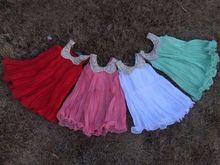2015 new baby girls chiffon dress valentines dress with matching headband and chunky necklace set