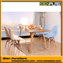 CN-ABS-1002 ABS Modern Plastic Chairs Dining Room Modern Chair with Wooden Legs