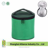 Custom Portable Zipper Tote Round Cylinder Cooler Bag