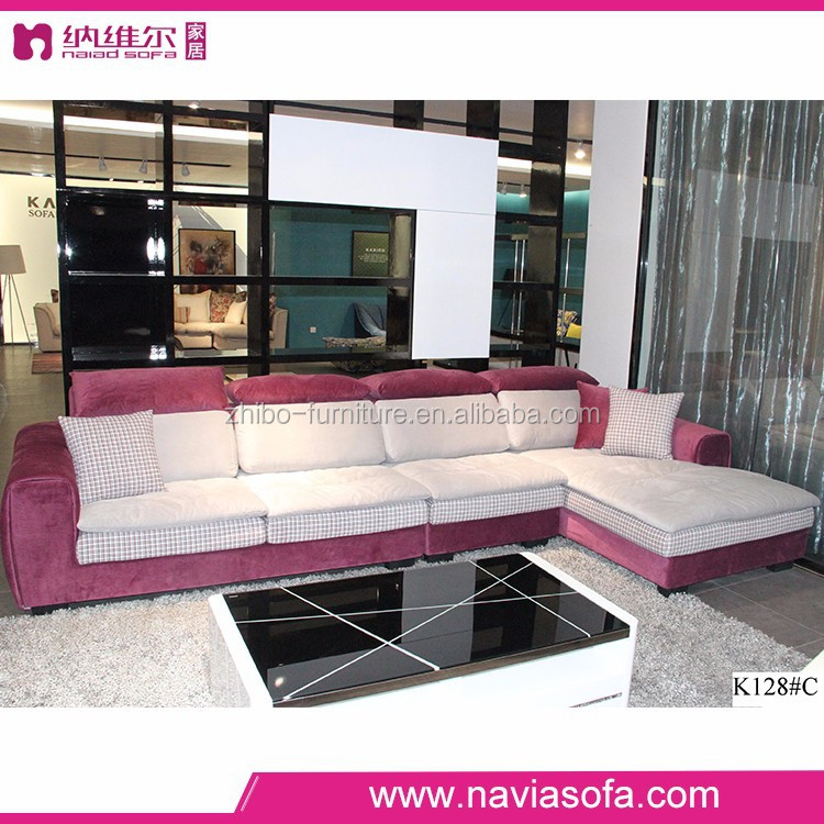 Latest Design Living Room Fabric Furniture Comfy Pink